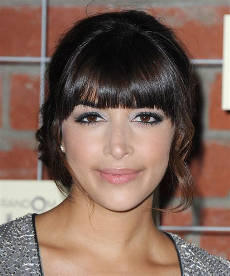Hannah Simone Curly Formal Updo Hairstyle with Blunt Cut
