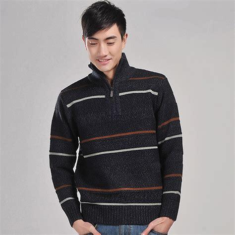 Turtleneck Stripe 3 striped fashion sweaters turtleneck pullovers zipper sweaters acrilico 3 color army