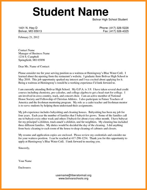 Business Letter Format High School 6 school application letter mystock clerk