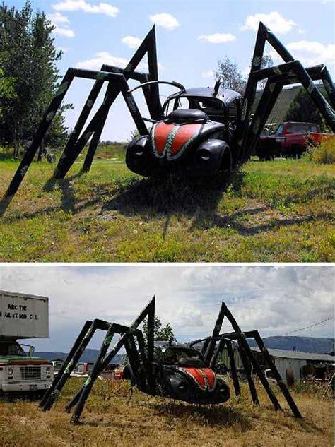 spider bug  spooky vw beetle car art sculptures urbanist