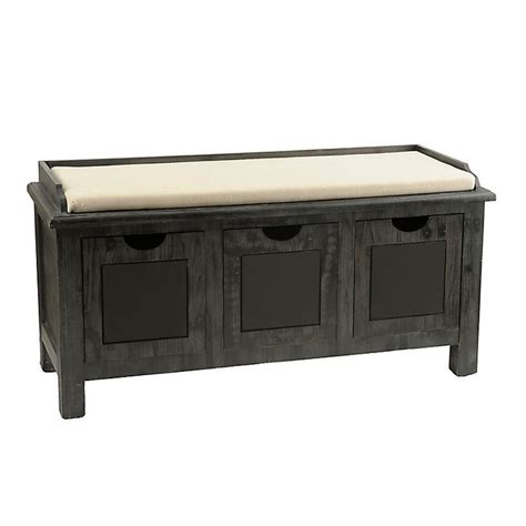 kirklands storage bench weathered gray chalkboard 3 drawer storage bench gray