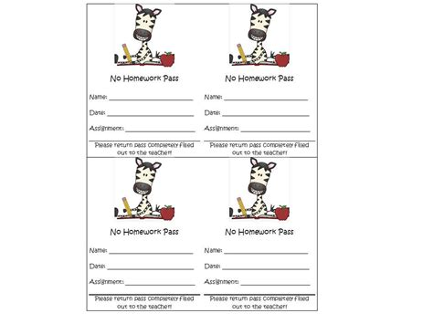 free homework pass template oodles of teaching a peek into my room and some zebra