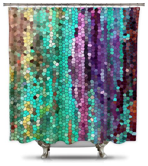 Bathroom Sets With Shower Curtain Catherine Holcombe Morning Mosaic Fabric Shower Curtain