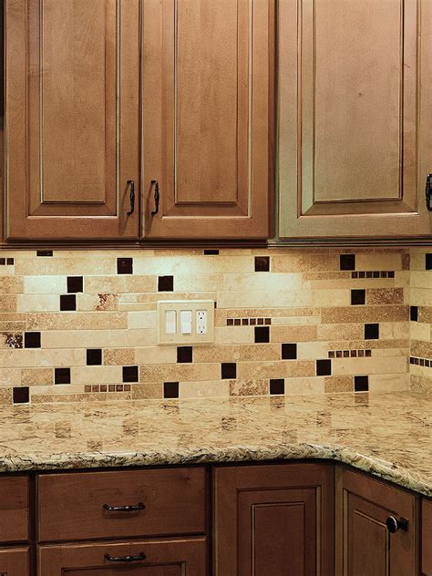 brown tile backsplash brown glass travertine mix backsplash tile for traditional kitchen