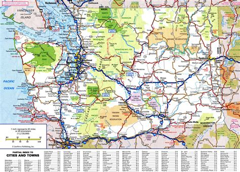 map of all cities large detailed roads and highways map of washington state