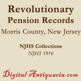 Morris County Records Revolutionary Pension Records Of Morris County New Jersey Ebooks History