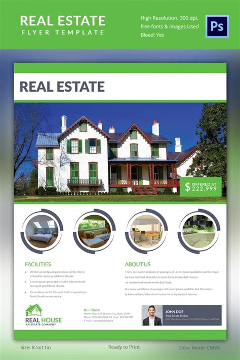 real estate brochure flyer design vector template in a4 size stock