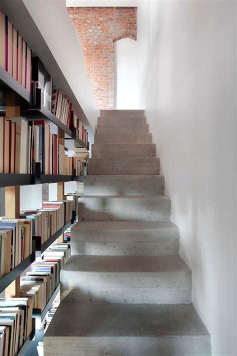 staircases with integrated bookshelves stylish space
