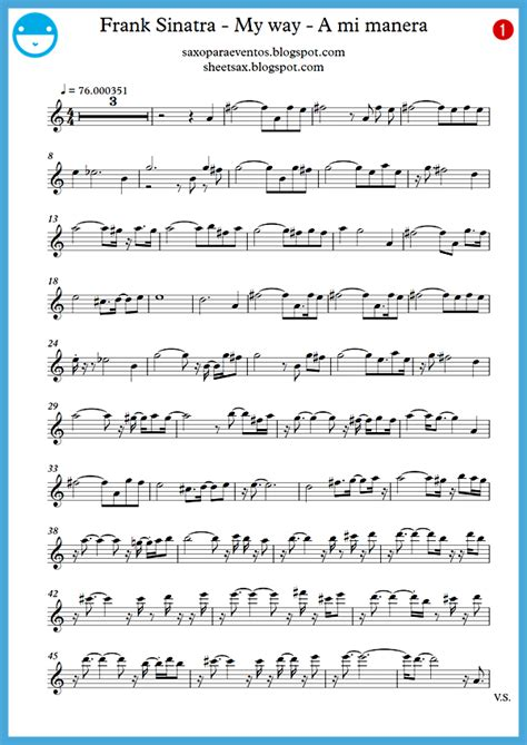 """My way"" Frank Sinatra score and track (Sheet music free"