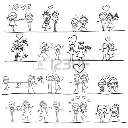 imagenes animadas de una historia de amor de dibujos animados de dibujo a mano feliz pareja de