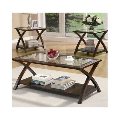 Glass Table Sets For Living Room Coffee End Tables Set Of 3 Living Room Side Table Glass Top Wood Furniture What S It Worth