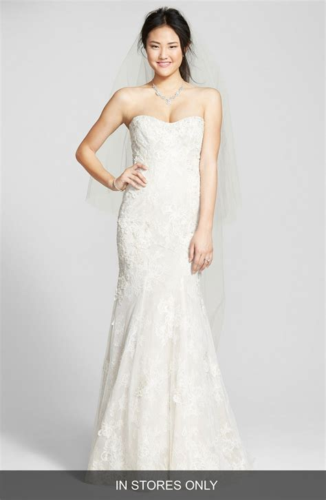 Wedding Dresses Lhuillier by Bliss Lhuillier Strapless Beaded Lace Trumpet