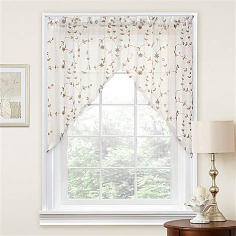 36 curtain panel caspia 36 inch swag window curtain panel pair bed bath