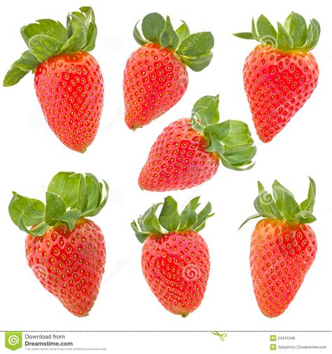 set with strawberry with green leaf on white royalty free stock photos image 24341048