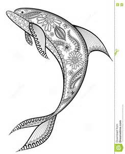 hand drawn stylized dolphin vector illustration in