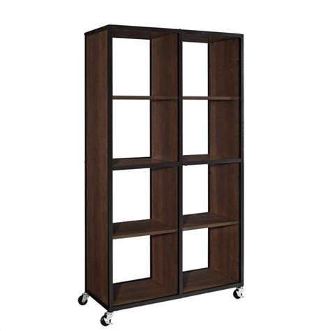 Mobile Bookcase And Room Divider In Cherry 9630096 Movable Bookshelves