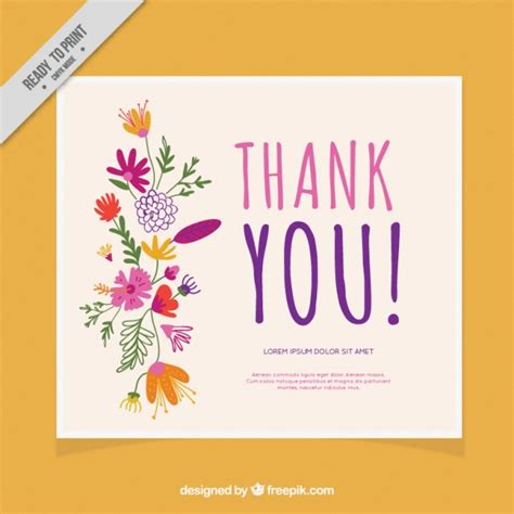 free printable thank you cards with flowers thank you card decorated with flowers vector free download