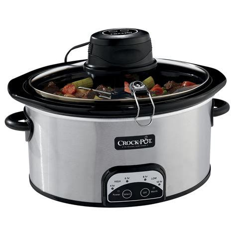 crock pot crock pot 174 6 5qt oval programmable cooker with istir stirring system stainless