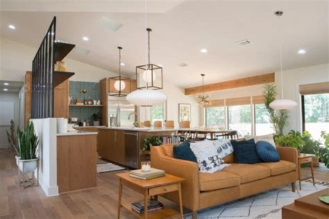 open concept mid century modern kitchen  living