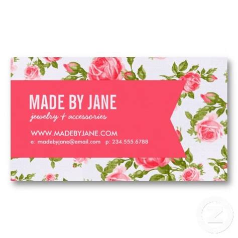 flower shop business card template free girly chic vintage floral roses ribbon business