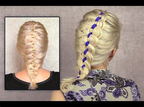 4 strand braid tutorial on yourself ribbon braid hairstyle for medium hair how