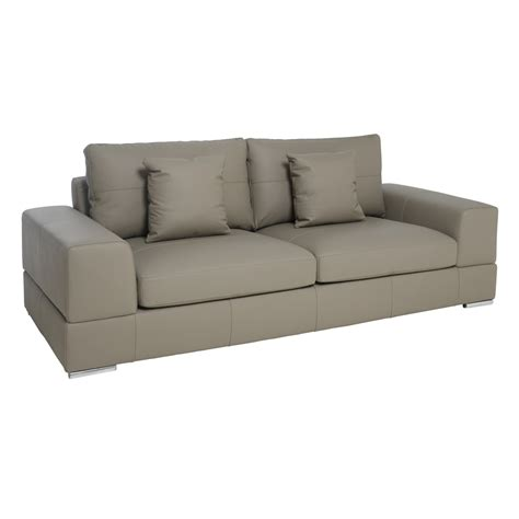 verona leather three seater sofa light grey dwell