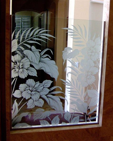 hbscs bty gls shower panels etched glass tropical design