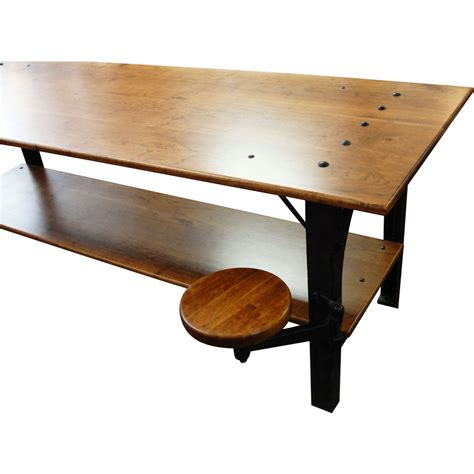 Kitchen Island Bench For Sale by Industrial Table With Cast Iron Legs And Swing Out Stool