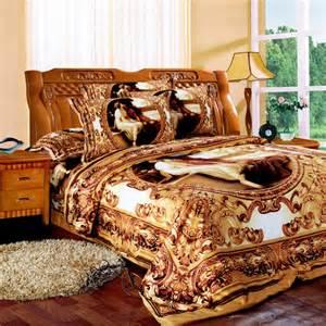 Cheap King Size Western Bedding Sets Svetanya Western Painting Bedlinen Golden Bedclothes