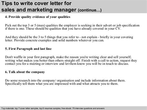 sales and marketing manager cover letter