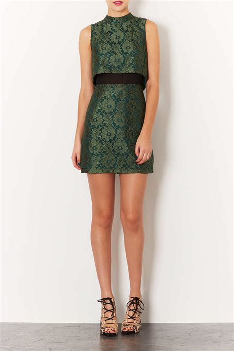 Topshop Smart Shorts by Lyst Topshop Sleeveless Crop Lace Dress In Green