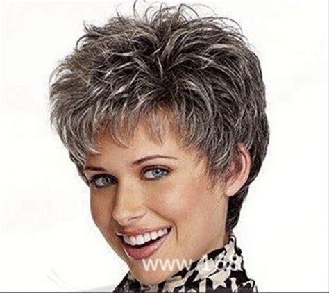 pictures of womens short dark hair with grey streaks hot fashion wig new charm women s short dark gray hair