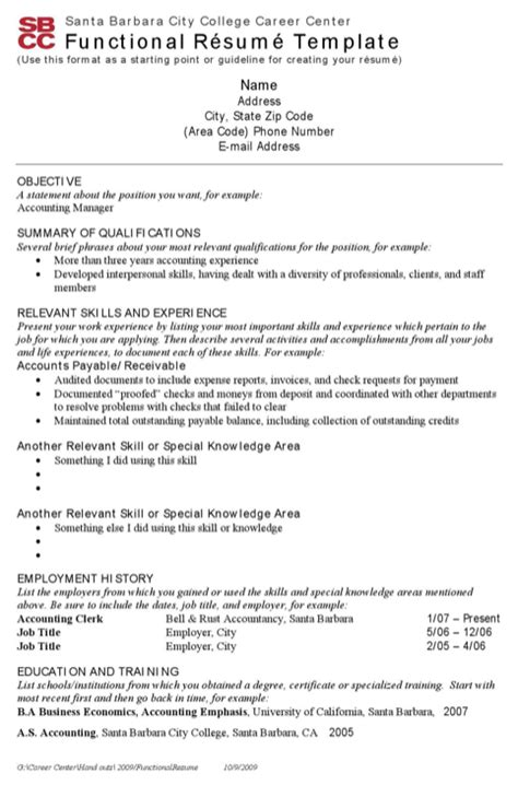 functional resume word template 2007 28 images