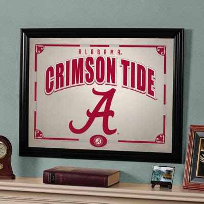 Alabama Crimson Tide Home Decor Alabama Crimson Tide Ncaa College Framed Glass Mirror