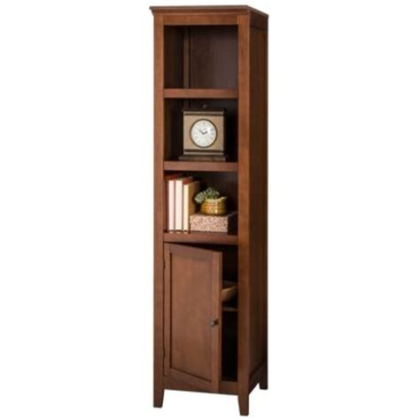 threshold carson narrow bookcase with storage midtone