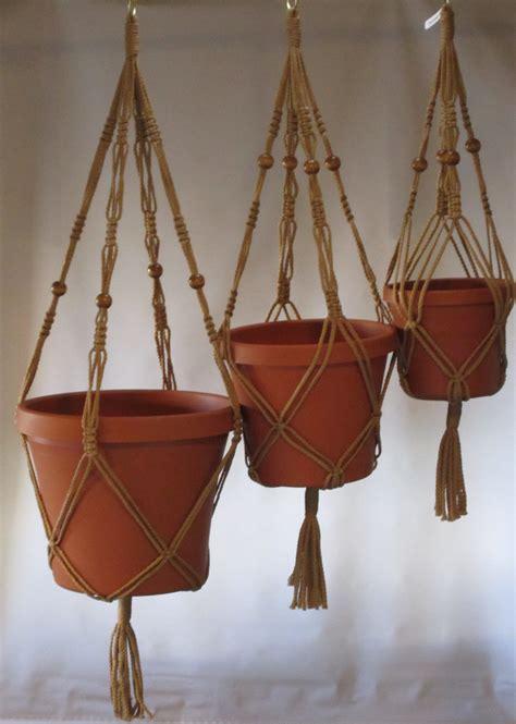 macrame plant hangers vintage style mm trio