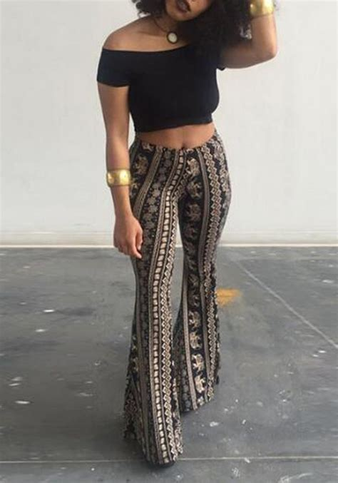 pattern high waisted jeans black tribal floral elephant pattern high waisted bell