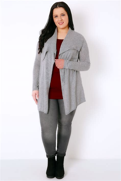 Grey Knitted Lace Panel Eyelash Longline grey belted knit cardigan with ribbed collar plus size 16 to 32