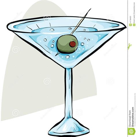 martini illustration martini with olive stock illustration image 41748431