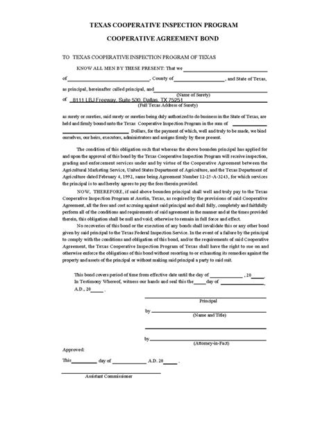 suretyship agreement template cooperative agreement surety bond
