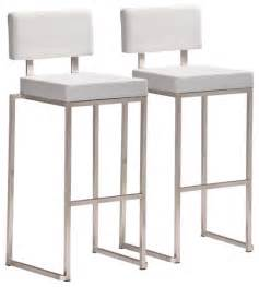 Bar Stool Kitchen Table Sets - zuo decade stainless steel and white bar stool set of 2 contemporary bar stools and counter
