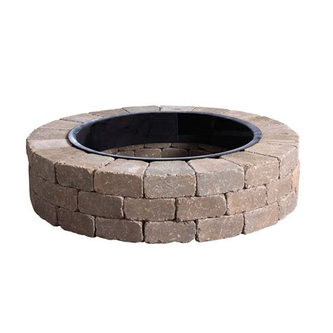 anchor fresco 52 in northwoods tan concrete fire pit kit