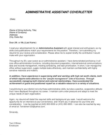 executive assistant cover letter exle cover letter exle 7 sles in word pdf