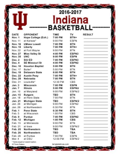 Calendar 2018 Iu Printable 2016 2017 Hoosiers Basketball Schedule