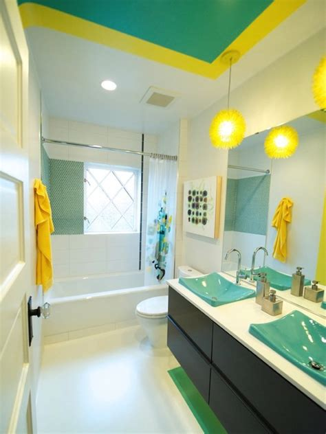 turquoise and yellow bathroom colorful interiors bathroom design color inspiration
