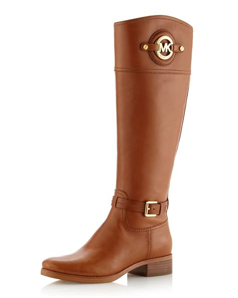 michael kors boots michael michael kors stockard leather boot in brown