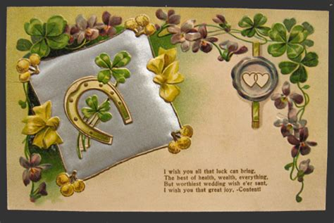 Wedding Wishes Postcards by 4 Leaf Clover Horseshoe Wedding Wishes Vintage Quilted