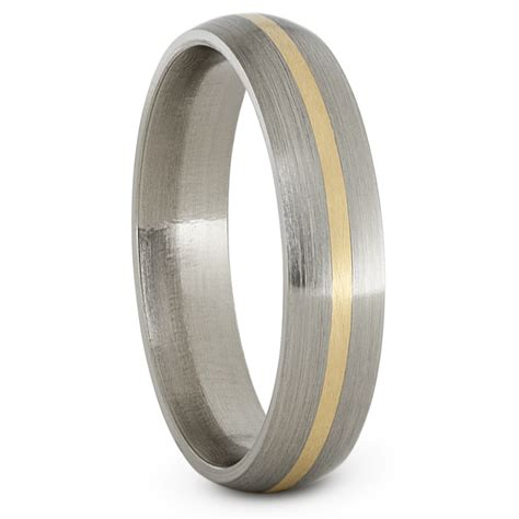 womens wedding band in titanium with 14k yellow gold