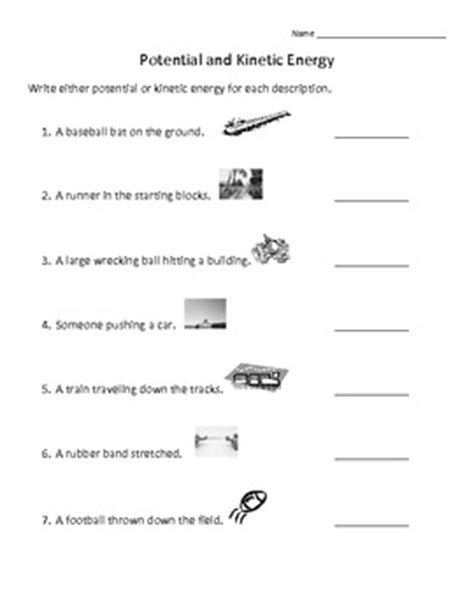 worksheet on kinetic and potential energy pictures potential vs kinetic energy worksheet getadating