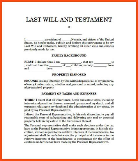 living will and testament template sle last will and testament form a state